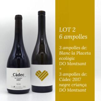 Imatge del lot 2 deo 3 ampolles de blanc ecològic la Placeta i 3 ampolles de Càdec 2017